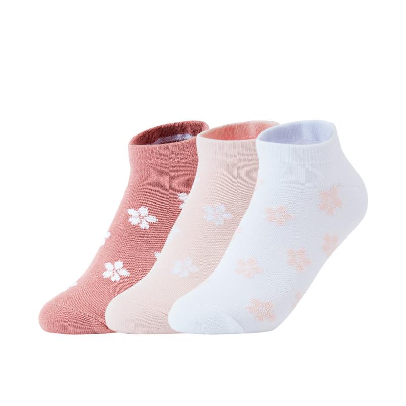 【三色装混色】特步 女子平板船袜(3双装) 21年新款清新提花透气短袜袜子879238540182