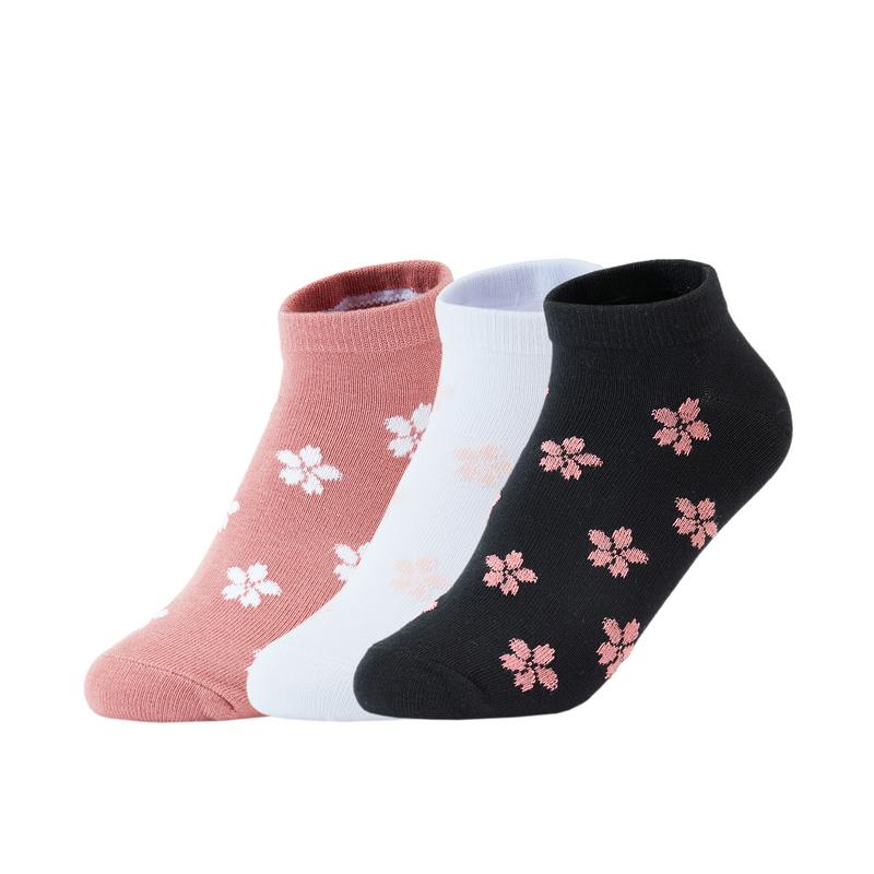 【三色装混色】女子平板船袜(3双装) 21年新款清新提花透气短袜袜子879238540182