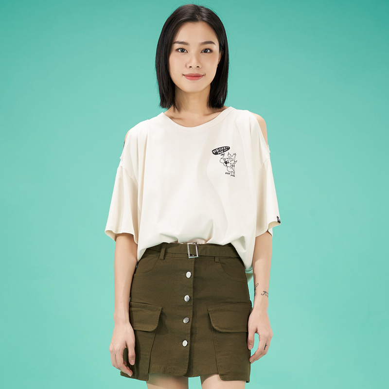 特步 女子短袖针织衫 21年新款露肩考拉宽松时尚T恤879228010062