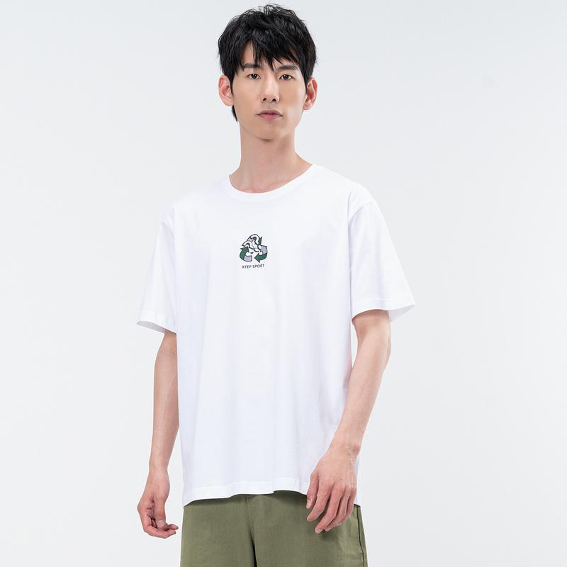 特步 中性短袖针织衫 21年新款男女同款情侣棉循环童趣T恤879227010417
