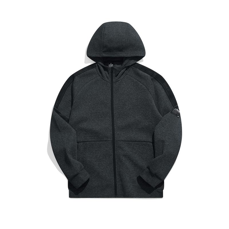 特步 专柜款 男子针织连帽上衣 21年新款 运动简约百搭男卫衣979329940070