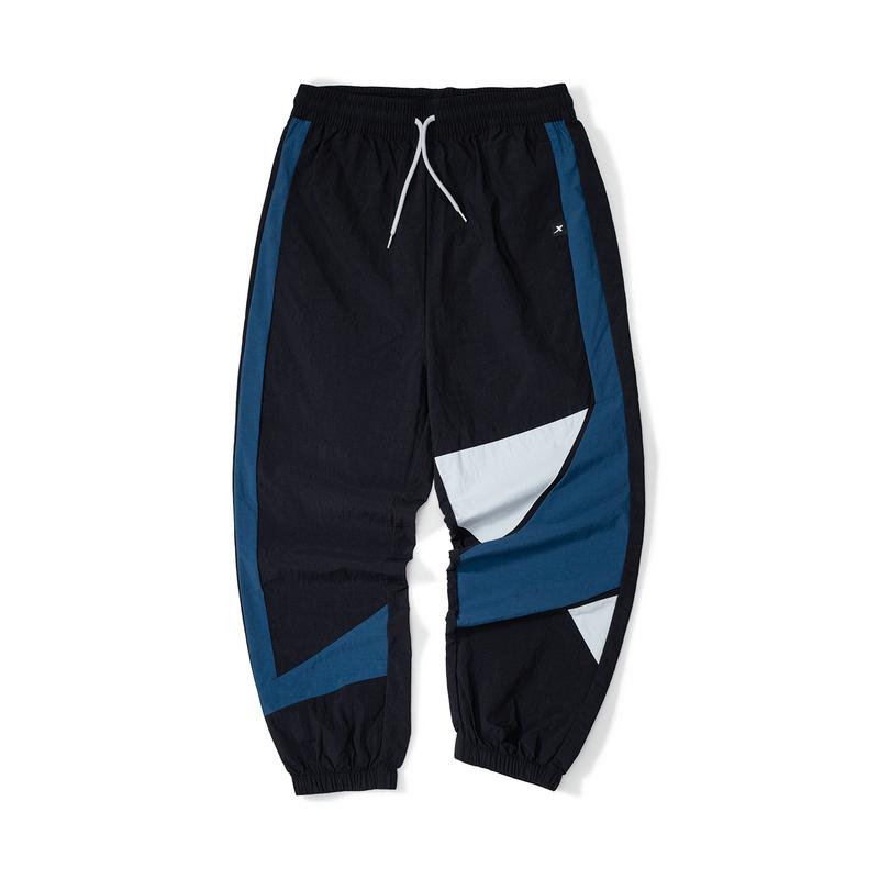 特步 男子梭织运动长裤 21年新款 潮流拼接运动男裤879329980066