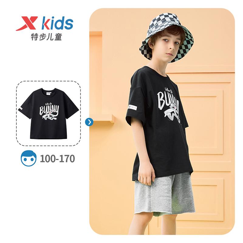 【兔八哥】特步 男童女童童装 21夏季新款儿童中大童宽松上衣短袖T恤679226019038