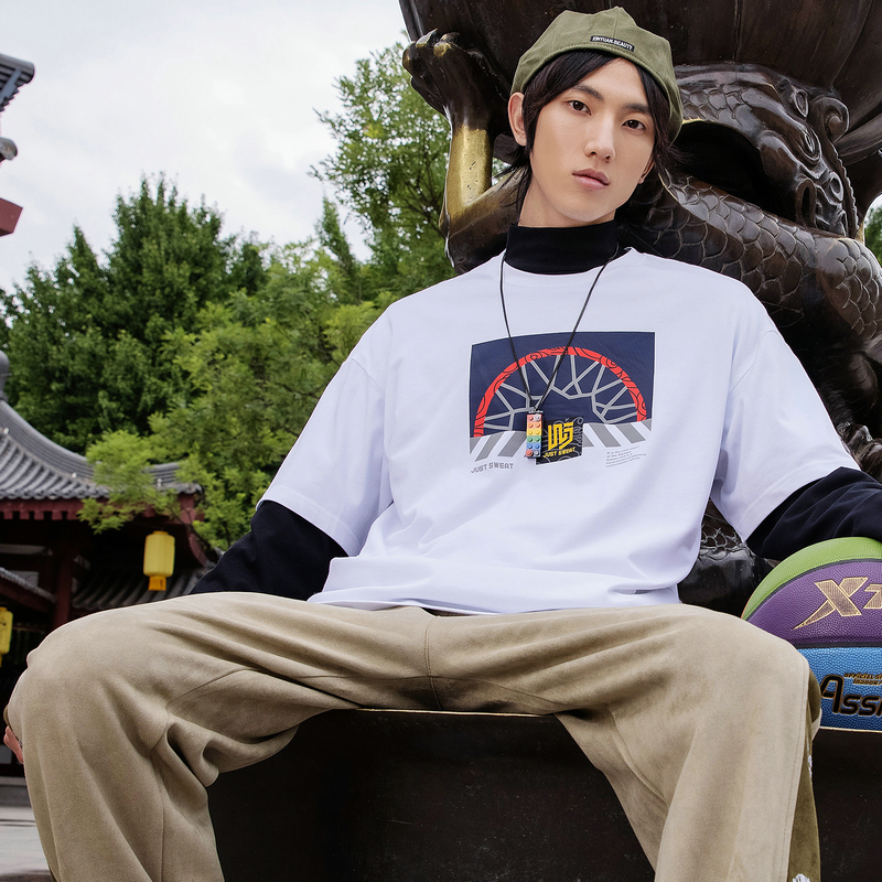 【汪东城同款】男子长袖针织衫 21年新款秋街头篮球运动休闲假两件上衣879329030098